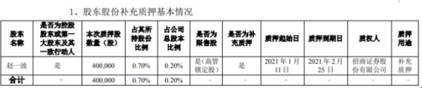 华通热力控股股东赵一波质押40万股 用于补充质押