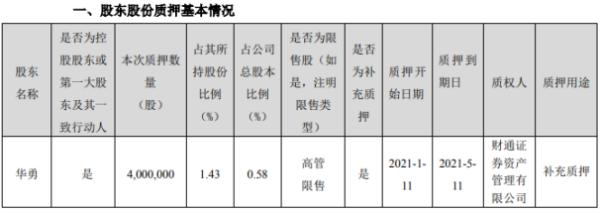 顺网科技控股股东华勇质押400万股 用于补充质押