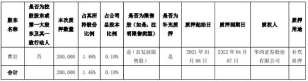 顶固集创股东曹岩质押20万股 用于补充质押