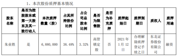 新元科技控股股东朱业胜质押688万股 用于融资