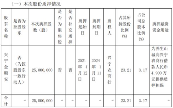 广东明珠股东兴宁金顺安质押2500万股 用于银行借款担保