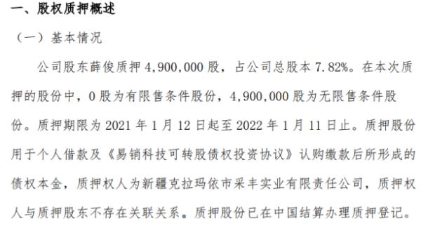 易销科技股东薛俊质押490万股 用于个人借款