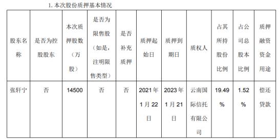 永辉超市股东张轩宁质押1.45亿股 用于偿还贷款