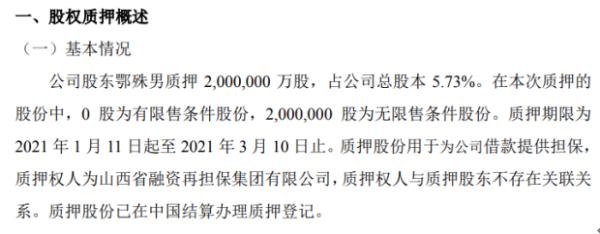 鼎隆智装股东鄂殊男质押200万股 用于为公司借款提供担保