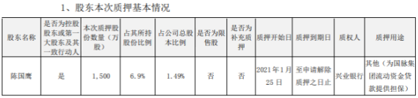 国脉科技控股股东陈国鹰质押1500万股 用于为贷款提供担保