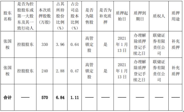 童渊石油控股股东张国范以570万股作为补充质押