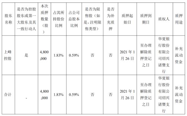 上峰水泥控股股东上峰控股质押480万股 用于补充流动资金