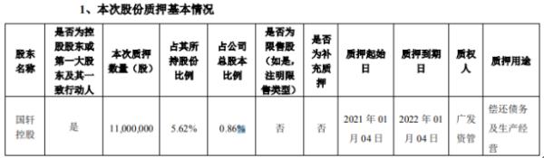 国轩高科控股股东国轩控股质押1100万股 用于偿还债务及生产经营