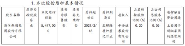 新湖宝控股股东新湖集团质押544.7万股 实现营业额