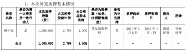 宇晶股份控股股东杨宇红质押100万股 用于补充质押