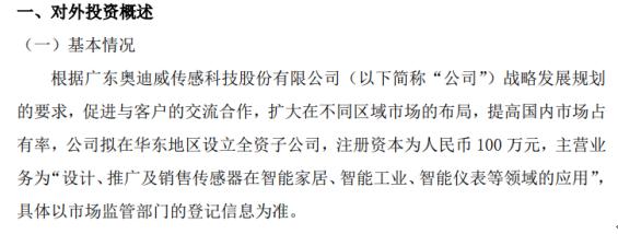 奥迪威拟投资100万元在华东地区设立全资子公司