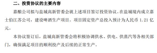 重庆啤酒股份有限公司控股的加浓公司拟投资1.21亿元购置土地厂房和设备 建设年产13万升啤酒生产线