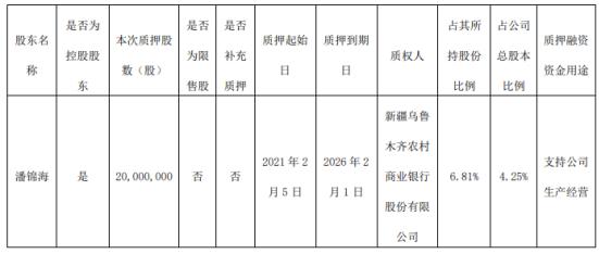 汇嘉时代控股股东潘锦海质押2000万股 用于支持公司生产经营