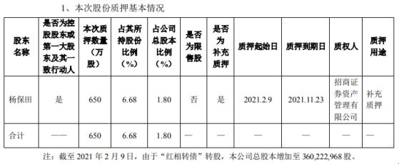 红相股份控股股东杨保田质押650万股 用于补充质押