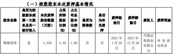 辉隆股份股东辉隆投资质押1536万股 用于补充流动资金