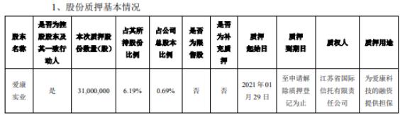 爱康科技控股股东爱康实业质押3100万股 用于为爱康科技融资提供担保