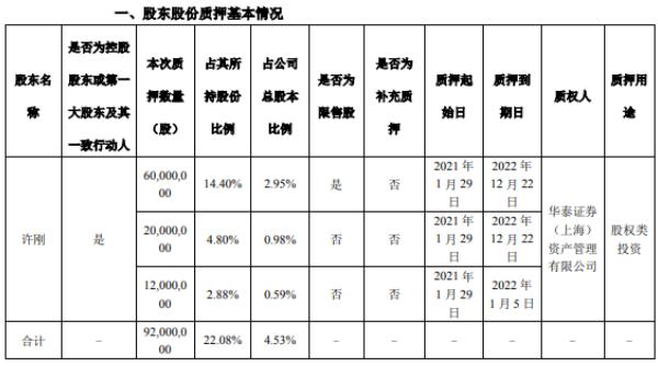 龙蟒佰利控股股东许刚质押9200万股 用于股权类投资