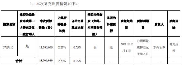 岭南股份控股股东尹洪卫质押1150万股 用于补充质押