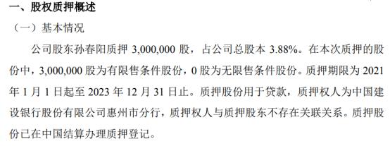 力王高科股东孙春阳质押300万股 用于贷款