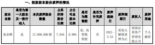 东山精密控股股东袁永峰质押1700万股 用于个人融资