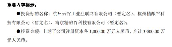 乐惠国际拟以自有资金3000万投资设立3家全资子公司