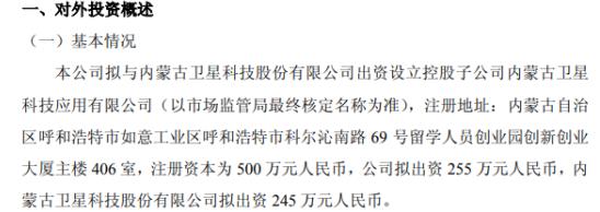 天润科技拟出资255万投资设立控股子公司