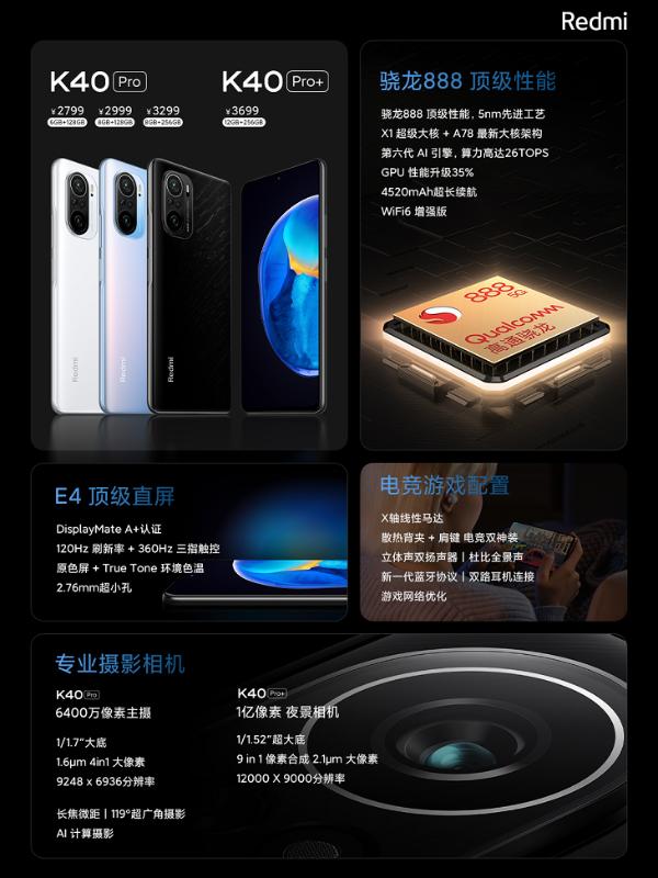 Redmi K40系列1999起:骁龙888与870双箭齐发 最高支持一亿像素