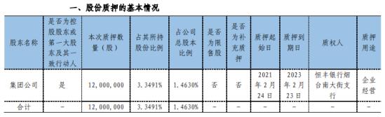 正海磁材控股股东集团公司质押1200万股 用于企业经营