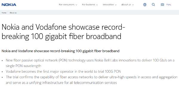 诺基亚和沃达丰成功试验100G PON技术