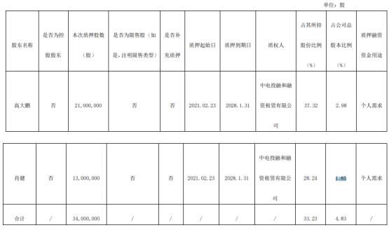 广东榕泰2名股东合计质押3400万股 用于个人需求