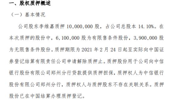 嘉合智能股东李维嘉质押1000万股 用于提供质押担保