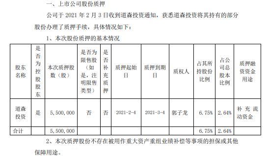 道森股份控股股东道森投资质押550万股 用于补充流动资金
