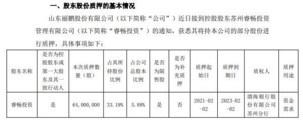 丽鹏股份控股股东睿畅投资质押6400万股 用于资金需求