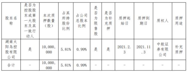 亚光科技控股股东太阳鸟控股质押1000万股 用于补充质押