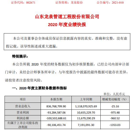 龙泉股份2020年度亏损9010.65万由盈转亏 本期执行订单明显减少