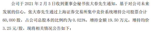 *ST亚振董事会秘书张大春增持6万股 耗资19.5万