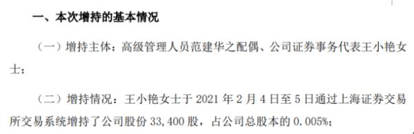 鼎信通讯证券事务代表王小艳增持3.34万股 耗资约24.88万