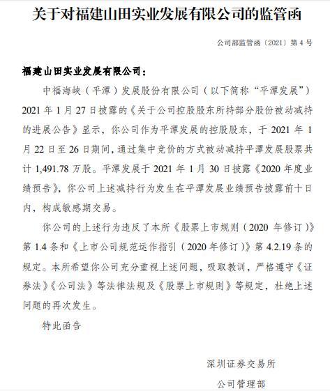 平潭发展控股股东天山实业在敏感期被动减持1492万股 并获发监管函