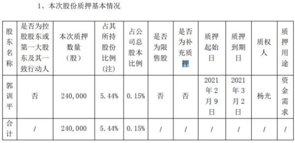 国华网安股东郭训平质押24万股 用于资金需求