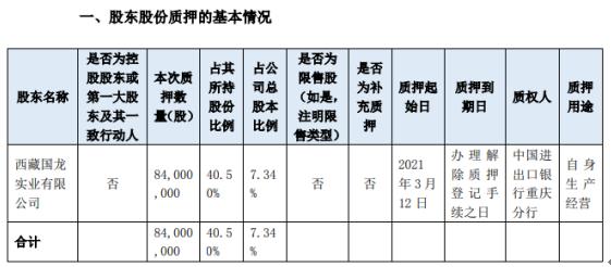 宗申动力股东西藏国龙质押8400万股 用于自身生产经营
