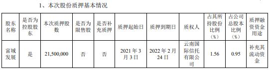 新城控股控股股东富域发展质押2150万股 用于补充其流动资金