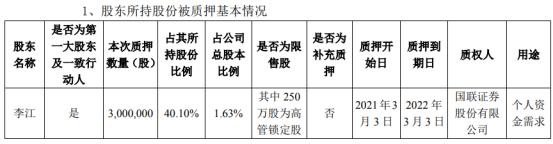 和胜股份第一大股东李江质押300万股 用于个人资金需求