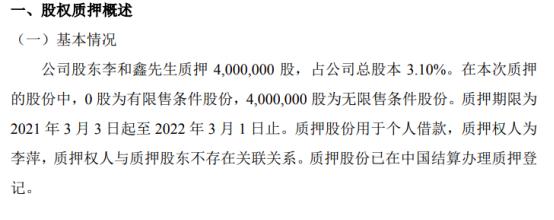 富耐克股东李和鑫质押400万股 用于个人借款