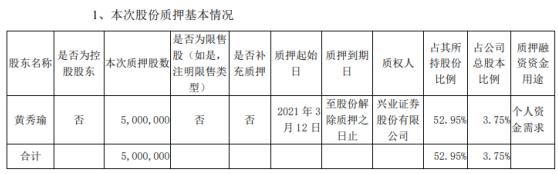 淳中科技股东黄秀瑜质押500万股 用于个人资金需求