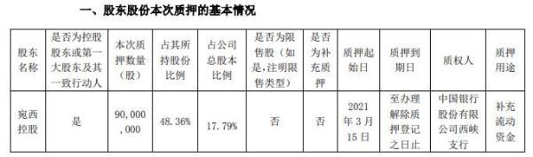 龙飞股份有限公司控股股东皖西控股质押9000万股补充营运资金