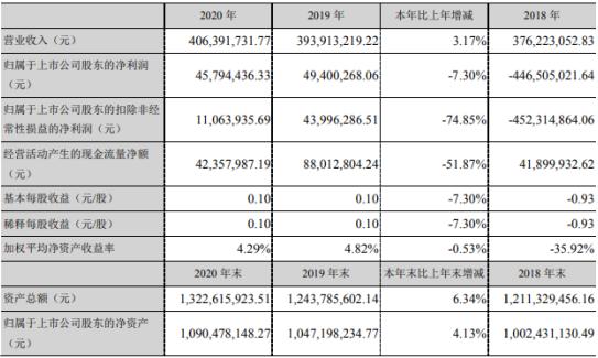 中元股份2020年净利4579.44万下滑7.3%公司复工时间较晚 董事长王永业薪酬93.96万