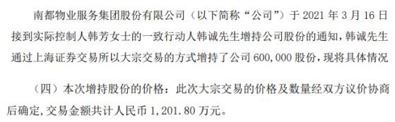 南都物业实际控制人的一致行动人韩诚增持60万股 耗资1201.8万