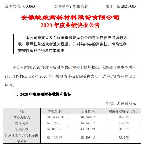 维维高辛2020年净利润6.11亿元 增长58.77% 新材料产品市场规模稳步扩大