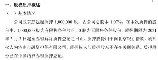 乾元泽孚股东彭泓越质押100万股 用于向北京银行借款