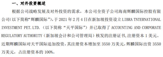 鲁泰A全资子公司出资3550万美元在新加坡投资设立全资子公司